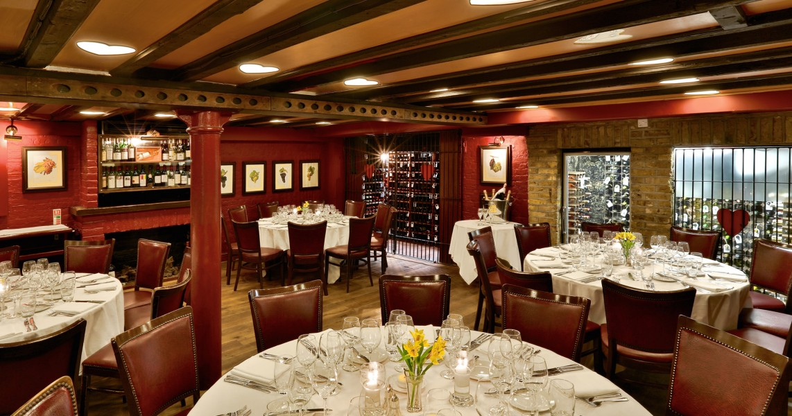 Interior of the Bleeding Heart restaurant - French Restaurant London