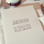 Wedding menu at the Bleeding Heart restaurant