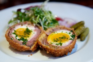 scotch egg served at the bleeding heart tavern in central london