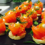 Private dinning with Salmon canapes served at Bleeding Heart restaurants